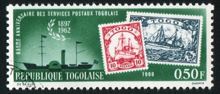 shrouds: TOGO - CIRCA 1963: stamp printed by Togo, shows Mail ship, stamps of 1900, circa 1963