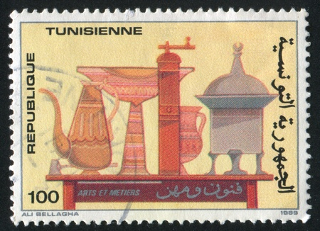 TUNISIA - CIRCA 1989: stamp printed by Tunisia, shows Pottery, circa 1989 photo