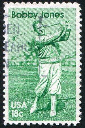 jones: UNITED STATES - CIRCA 1981: stamp printed by United States of America, shows athlete Robert Tyre Jones, circa 1981