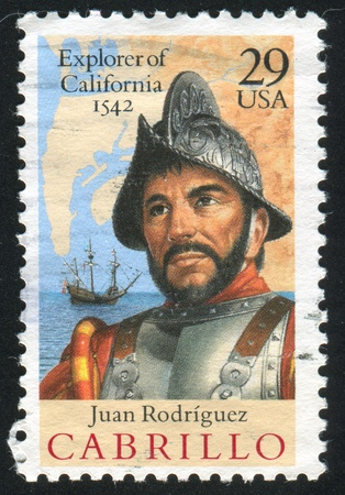 UNITED STATES - CIRCA 1992: stamp printed by United States of America, shows Cabrillo, Ship, Mapwater of San Diego Bay, circa 1992 Stock Photo - 11261227