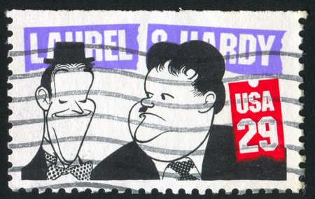 hardy: UNITED STATES - CIRCA 1991: stamp printed by United States of America, shows caricature of Laurel and O`Hardy, circa 1991