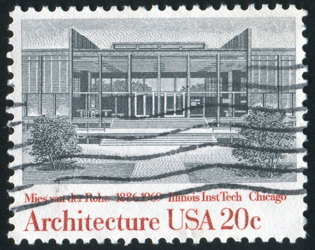 UNITED STATES - CIRCA 1982: stamp printed by United States of America, shows Illinois Institute of Technology by Ludwig van der Rohe, circa 1982 photo