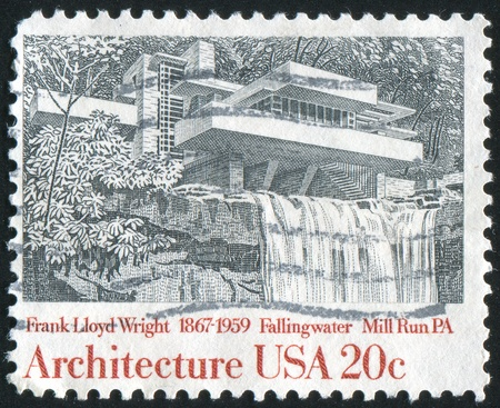 UNITED STATES - CIRCA 1982: stamp printed by United States of America, shows Fallingwater, Mill Run,  by Frank Lloyd Wright, circa 1982