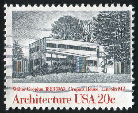 UNITED STATES - CIRCA 1982: stamp printed by United States of America, shows Gropius House, Lincoln, by Gropius, circa 1982 photo