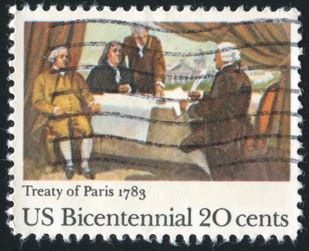 treaty: UNITED STATES - CIRCA 1983: stamp printed by United States of America, shows Signing of Treaty of Paris, circa 1983