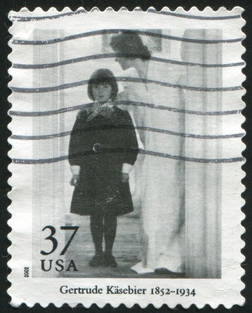 """thou: UNITED STATES - CIRCA 2002: stamp printed by United States of America, shows """"Blessed Art Thou Among Women"""" by Gertrude Kasebier, circa 2002"""