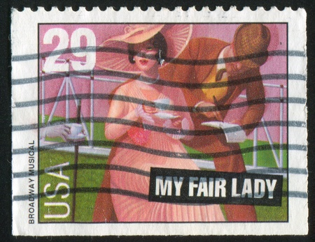 UNITED STATES - CIRCA 1993: stamp printed by United States of America, shows heroes from 'My fair lady' musical, circa 1993 Stock Photo - 11264643
