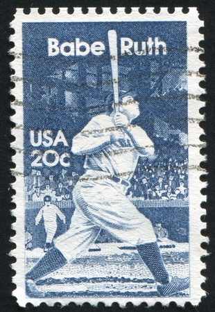 babe: UNITED STATES - CIRCA 1983: stamp printed by United States of America, shows sportsman Babe Ruth, circa 1983
