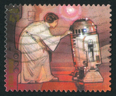 UNITED STATES - CIRCA 2007: stamp printed by United states, shows Star Wars, Princess Leia and R2-D2, circa 2007 報道画像
