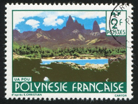 FRENCH POLYNESIA CIRCA 1979: stamp printed by French Polynesia, shows Mountain peaks, Ua Pou, circa 1979 Stock Photo - 11339429