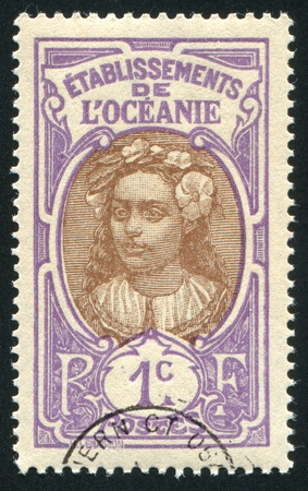 FRENCH POLYNESIA CIRCA 1913: stamp printed by French Polynesia, shows Tahitian Girl, circa 1913 Stock Photo - 11339301