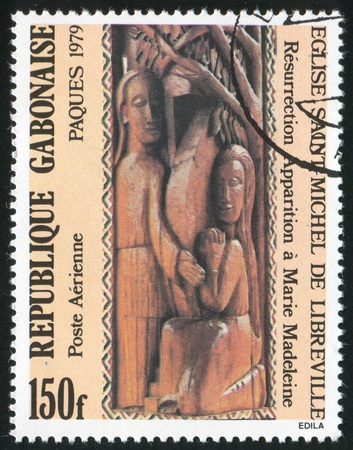 parable: GABON CIRCA 1979: stamp printed by Gabon, shows Jesus appearing to Mary Magdalene, circa 1979