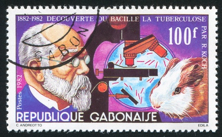 GABON CIRCA 1982: stamp printed by Gabon, shows Koch, tuberculosis bacillus, Guinea pig, circa 1982