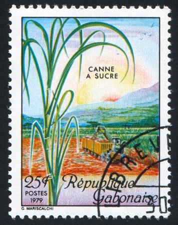 GABON CIRCA 1979: stamp printed by Gabon, shows Sugar Cane Harvest, circa 1979 Stock Photo - 11339507