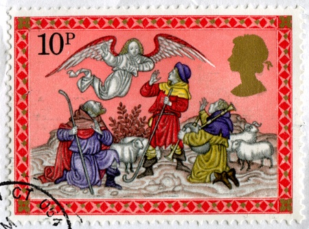 crook: GREAT BRITAIN CIRCA 1979: stamp printed by Great Britain, shows Angel appearing before the shepherds, circa 1979 Stock Photo