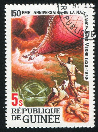 GUINEA CIRCA 1979: stamp printed by Guinea, shows Jules Verne story, Mysterious Island, circa 1979 photo