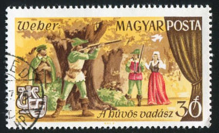 weber: HUNGARY - CIRCA 1967: stamp printed by Hungary, shows Scene from Freischutz opera by Karl Maria von Weber, circa 1967