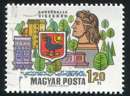 visegrad: HUNGARY - CIRCA 1969: stamp printed by Hungary, shows Arms and buildings of Visegrad, circa 1969