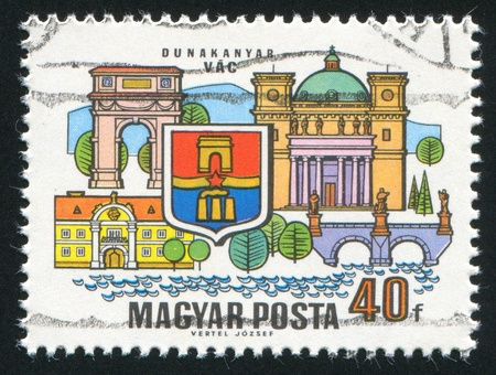 vac: HUNGARY - CIRCA 1969: stamp printed by Hungary, shows Arms and buildings of Vac, circa 1969 Stock Photo