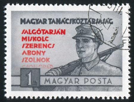 HUNGARY - CIRCA 1954: stamp printed by Hungary, shows Soldier, circa 1954