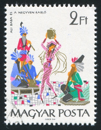 ali: HUNGARY - CIRCA 1965: stamp printed by Hungary, shows Ali Baba and the forty thieves, circa 1965