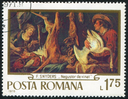 frans: ROMANIA - CIRCA 1970: stamp printed by Romania, shows picture Game Merchant, by Frans Snyders, circa 1970