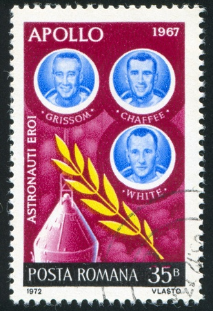 ROMANIA - CIRCA 1972: stamp printed by Romania, shows astronauts Grissom, Chaffee and White, circa 1972