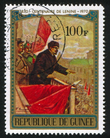vasiliev: GUINEA CIRCA 1970: stamp printed by Guinea, shows Lenin Speaking from Balcony, by P. V. Vasiliev, circa 1970