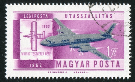 HUNGARY - CIRCA 1962: stamp printed by Hungary, shows plane, circa 1962 photo