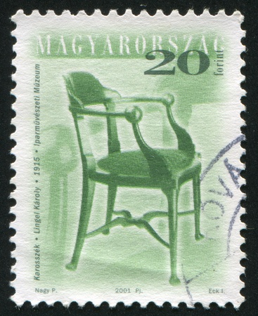 HUNGARY - CIRCA 2001: stamp printed by Hungary, shows antique chair, circa 2001 photo