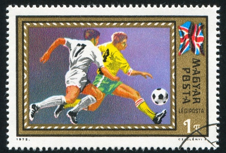HUNGARY - CIRCA 1972: stamp printed by Hungary, shows football, circa 1972 photo