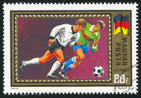 HUNGARY - CIRCA 1972: stamp printed by Hungary, shows football, circa 1972