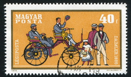 daimler: HUNGARY - CIRCA 1970: stamp printed by Hungary, shows automobile, Daimler, circa 1970