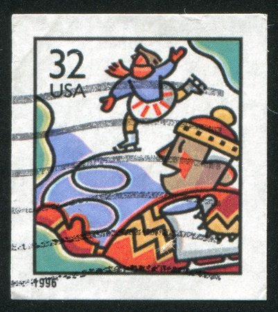 UNITED STATES - CIRCA 1996: stamp printed by United States of America, shows children skating, circa 1996 photo