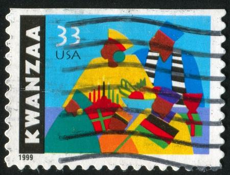 kwanzaa: UNITED STATES - CIRCA 1999: stamp printed by United States of America, shows Kwanzaa celebration, circa 1999