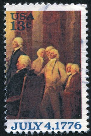 UNITED STATES - CIRCA 1976: stamp printed by United States of America, shows part of the picture Declaration of Independence, by John Trumbull, circa 1976