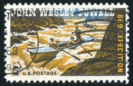 UNITED STATES - CIRCA 1969: stamp printed by United States of America, shows Powell, exploring Colorado river, circa 1969 photo