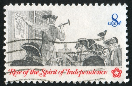 broadside: UNITED STATES - CIRCA 1973: stamp printed by United States of America, shows posting of broadside, circa 1973 Stock Photo