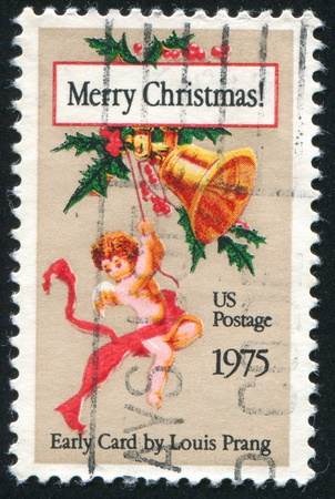 UNITED STATES - CIRCA 1975: stamp printed by United States of America, shows Christmas card, by Louis Prang, circa 1975 photo