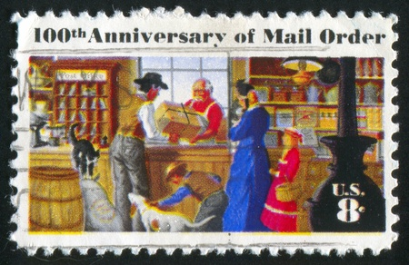 UNITED STATES - CIRCA 1972: stamp printed by United States of America, shows rural post office store, circa 1972 Stock Photo - 11371168