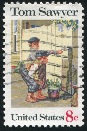 sawyer: UNITED STATES - CIRCA 1972: stamp printed by United States of America, shows illustration Tom Sawyer by Norman Rockwell, circa 1972