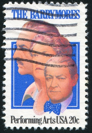 lionel: UNITED STATES - CIRCA 1982: stamp printed by United States of America, shows actors John, Ethel and Lionel Barrymore, circa 1982