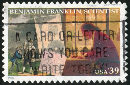 benjamin: UNITED STATES - CIRCA 2006: stamp printed by United States of America, shows Benjamin Franklin as a scientist, circa 2006