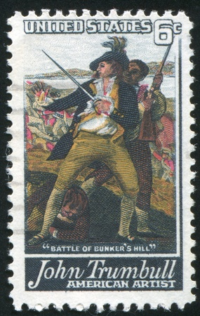 UNITED STATES - CIRCA 1968: stamp printed by United States of America, shows details of the picture 'The battle of Bunker's Hill', circa 1968 Stock Photo - 11371156