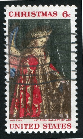 UNITED STATES - CIRCA 1968: stamp printed by United States of America, shows angel Gabriel from van Eyck Annunciation, circa 1968 photo