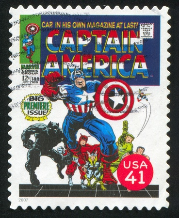 UNITED STATES - CIRCA 2007: stamp printed by United states, shows Captain America, circa 2007 Stock Photo - 11371258