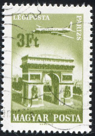 HUNGARY - CIRCA 1966: stamp printed by Hungary, shows Plane over Paris, circa 1966 photo