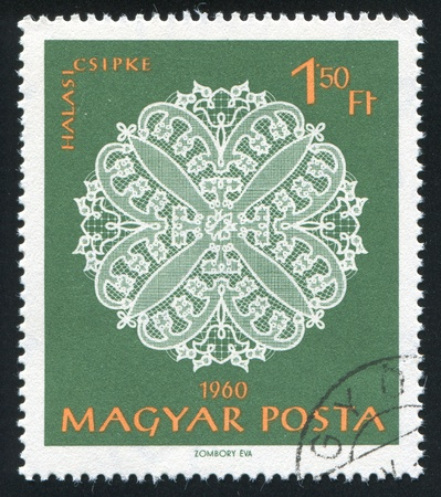 HUNGARY - CIRCA 1960: stamp printed by Hungary, shows Halas lace patterns, circa 1960 photo