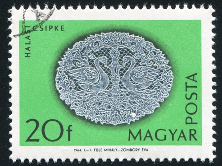 HUNGARY - CIRCA 1964: stamp printed by Hungary, shows Halas lace patterns, circa 1964 photo