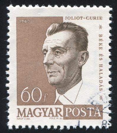 frederic: HUNGR�A - CIRCA 1960: sello impreso por Hungr�a, muestra Frederic Joliot-Curie, alrededor de 1960 Editorial